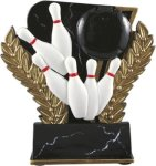 Bowling - Midnight Wreath Resin Trophy Bowling Awards