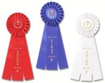Ribbons-Classic Three Streamer Rosette Award Ribbon Gymnastics Awards