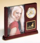 Rosewood Piano Finish Photo Desk Clock Picture Frames